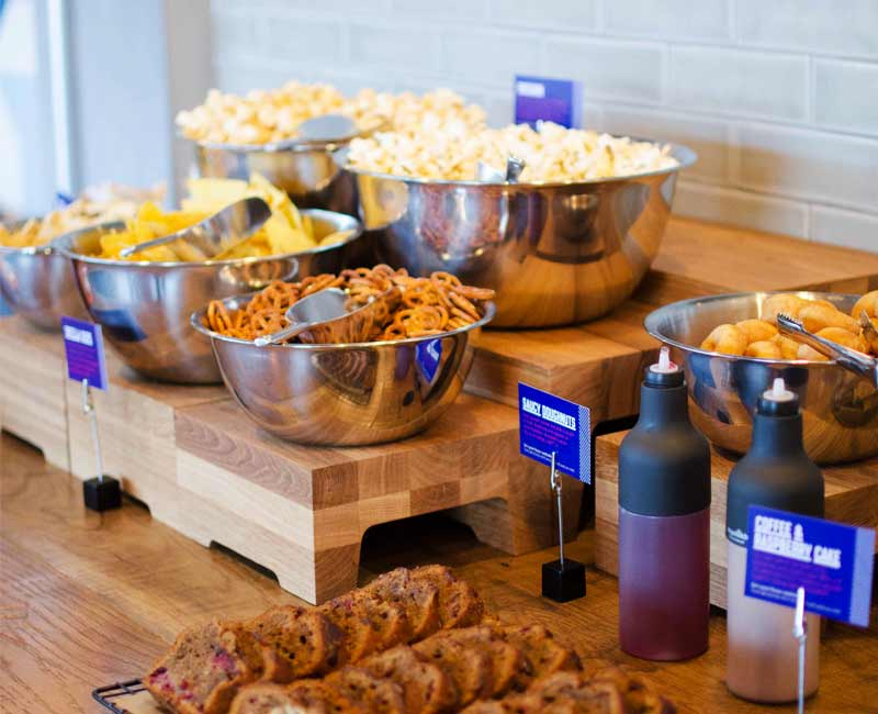 The seven-metre kitchen counter offers self-service hot and cold grazing snacks
